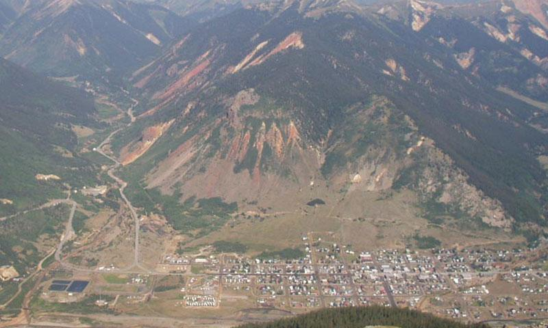 Looking down into Silverton from a Jeep Road