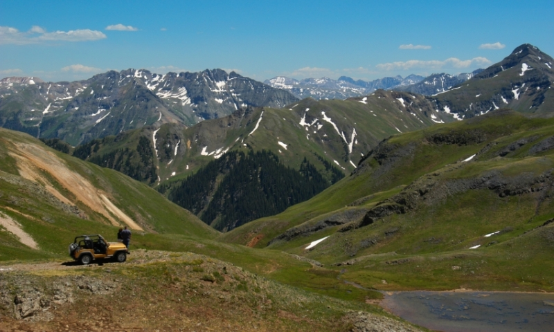 Jeep driving in the San Juan Mountains